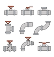 icons of pipe connector valve for plumbing vector image