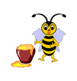 A funny cartoon bee with a pot of honey vector image vector image