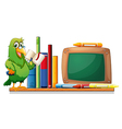A parrot above a bookshelf with books and an empty vector image vector image