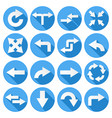 arrows set collection of round blue icons with vector image