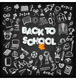 back to school background set on black board vector image vector image