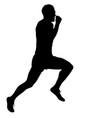 black silhouettes runners sprint men on white vector image vector image