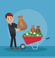 businessman and money cartoons vector image vector image