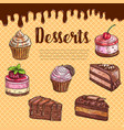 cake dessert menu poster with chocolate cupcake vector image vector image