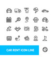 car rent sign thin line icon set vector image
