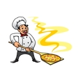 Cartoon baker chef cooking pizza vector image vector image
