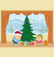 children finding gifts under fir tree vector image vector image