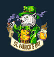 cute cat st patricks day holding a glass full vector image vector image