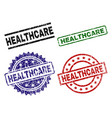 damaged textured healthcare seal stamps vector image vector image