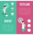 Dental care vertical banners with male dentist vector image vector image