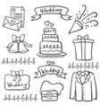 doodle of wedding hand draw style vector image vector image