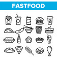 fastfood linear icons set thin pictogram vector image