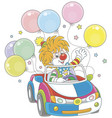 funny ginger clown driving his car vector image vector image