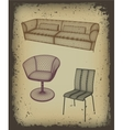 Furniture set for design in grunge frame vector image vector image