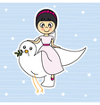 Girl flying with a dove vector image