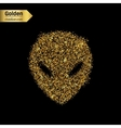 Gold glitter icon of alien isolated on vector image