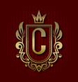 golden royal coat of arms c monogram vector image vector image