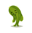 green cactus with sad face expression cartoon vector image vector image