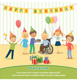Group of happy children congratulates disabled vector image