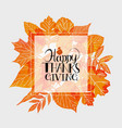 hand drawn happy thanksgiving lettering vector image