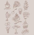 hand drawn line art doodles with coffee tea vector image