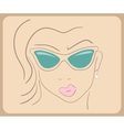 Handdrawn woman face wearing sunglasses close-up - vector image