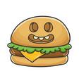 happy cheese burger cartoon vector image vector image