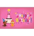 Happy Second Birthday card vector image vector image