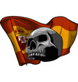 human skull with spain flag vector image vector image