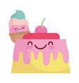 jelly and ice cream menu character cartoon food vector image