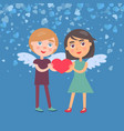 man and woman holding heart valentine card vector image vector image