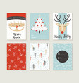 Merry christmas card set pattern retro cute santa vector image