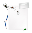 Pencil Lying on Blank Page with Evil Spiders vector image vector image