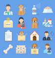 pets shelter icon set vector image vector image