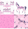 pink set of carousel seamless patterns vector image vector image