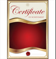 red and gold certificate template vector image