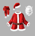 santa claus costume fancy dress for party vector image vector image