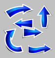 set blue arrow stickers with shadow vector image vector image