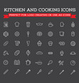 set of cooking kitchen icons includes icons vector image
