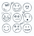 set of hand drawn faces moods vector image vector image