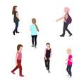 set of silhouette walking children vector image vector image
