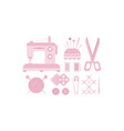 sewing and needlework icons set tailoring vector image