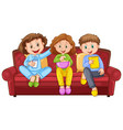 three happy kids eating snacks on sofa vector image vector image
