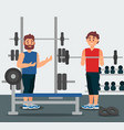 trainer holds training session with young man guy vector image