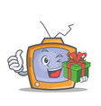 tv character cartoon object with gift vector image vector image