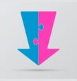 two piece puzzle arrow down arrow puzzle vector image vector image