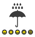 umbrella and rain icon on white background vector image