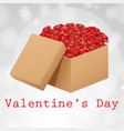 valentine card template with box roses vector image