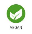veganism emblem green leaf vector image vector image