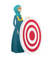 young muslim business woman and dart board vector image vector image